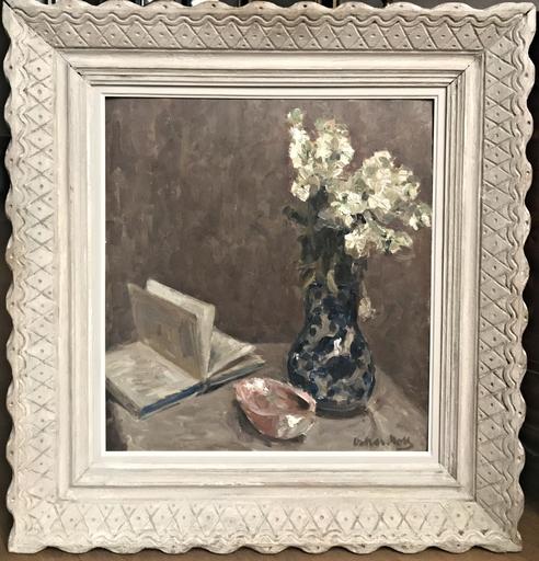Oskar MOLL - Painting - Stillleben mit aufgeschlagenem Buch und Blumenvase