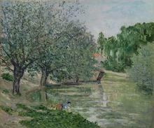Maxime MAUFRA - Pintura - Paysage animé à la rivière