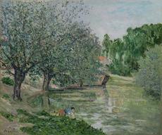 Maxime MAUFRA - Peinture - Paysage animé à la rivière