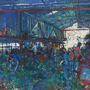 Jean COMMERE - Gemälde - Le marché aux fleurs, 1969
