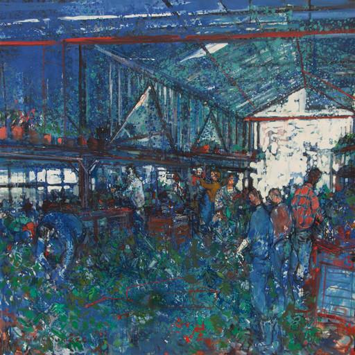 Jean COMMERE - Pintura - Le marché aux fleurs, 1969
