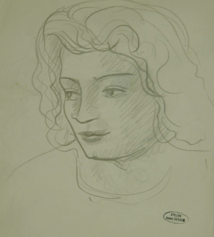 André DERAIN - Dibujo Acuarela - Portrait of Woman