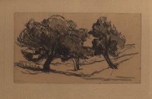 Maximilien LUCE - Dibujo Acuarela - Trois arbres