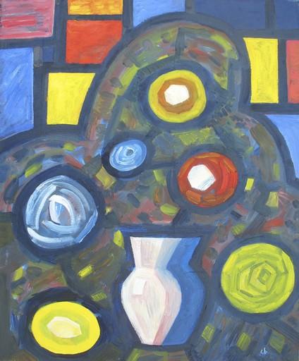 "Sergey BORISOV - Gemälde - Bouquet ""Flowers and vase"" blue yellow"