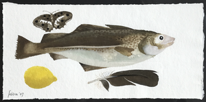 Mary FEDDEN - Drawing-Watercolor - Fish, Butterfly, Lemon & Feather