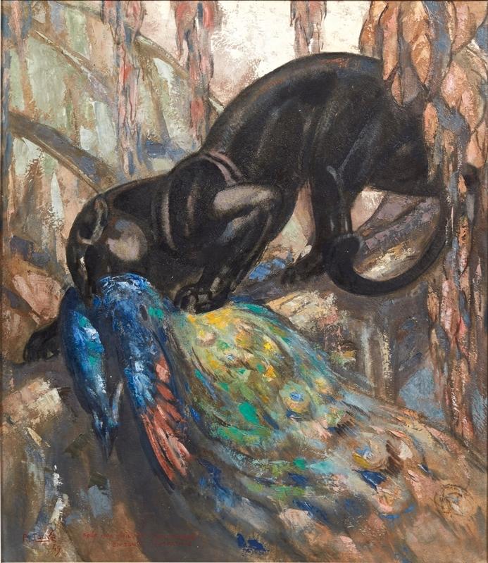 Paul JOUVE - Pintura - Panthère noire sur une branche tenant dans sa gueule un paon