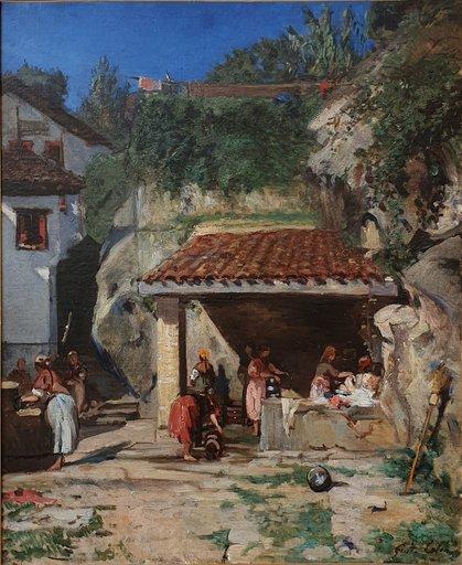 """Gustave Henri COLIN - Painting - """"LE LAVOIR SAN PEDRO A PASAJES"""""""