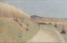 Achille LAUGÉ - Peinture - Le chemin bordé de chardons