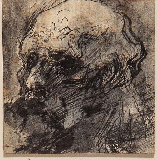 Adolfo WILDT - Drawing-Watercolor - STUDIO DI TESTA DI UOMO