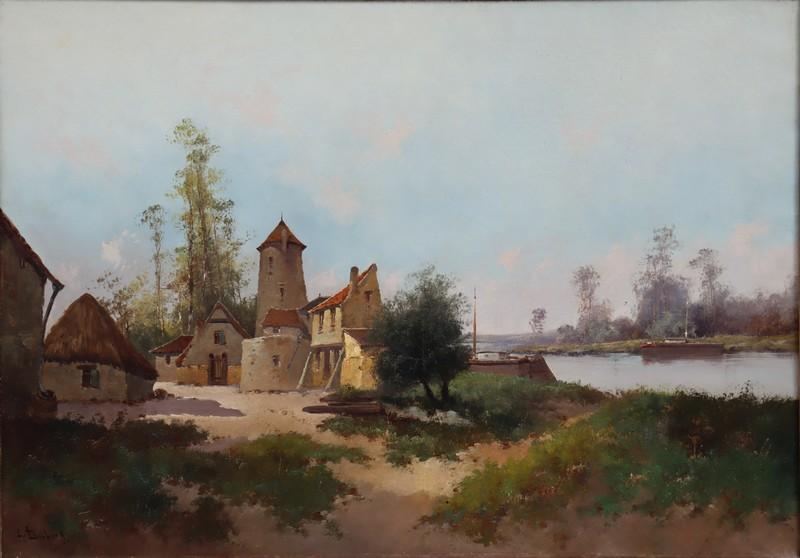 """Eugène GALIEN-LALOUE - Painting - """"L'OISE A SAINT-LEU D'ESSERENT"""""""