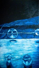 Fatiha ABELLACHE - Pittura - Espace bleu II