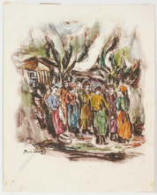 "Boris DEUTSCH - Dibujo Acuarela -  ""Festive day in a shtetl"", watercolor over etching"
