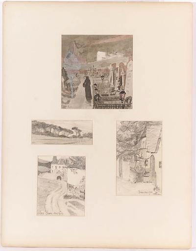 """Robert Heinrich VON DOBLHOFF - Disegno Acquarello - """"Four Studies"""", 1902"""