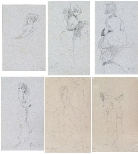 Giacomo FAVRETTO - Drawing-Watercolor - 16 ORIGINAL DRAWINGS COLLECTED IN AN ALBUM