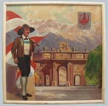 """Josef BRUNNER - Painting - """"Innsbruck in Austria"""", Oil Painting, 1930's"""