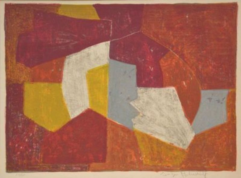Serge POLIAKOFF - Stampa-Multiplo - Composition Carmin, brune, jaune et grise n°11