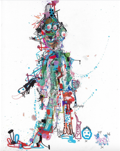 Michael ALAN - Drawing-Watercolor - Gumby Explodes