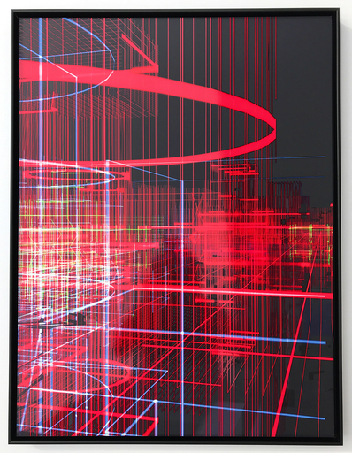 Miguel CHEVALIER - Sculpture-Volume - Meta-cités Filaire rouge