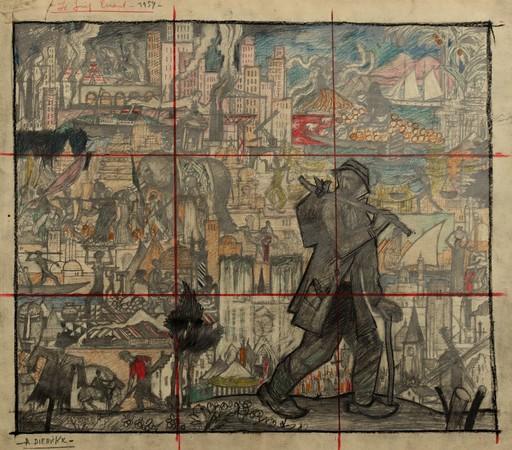 """Raymond DIERICKX - Drawing-Watercolor - ETUDE POUR UNE FRESQUE """"LE JUIF ERRANT"""""""