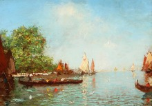 Albert Ferdinand DUPRAT - Pintura - sur la lagune de Venise