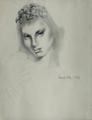 Tamara DE LEMPICKA - Dibujo Acuarela - Tête de femme