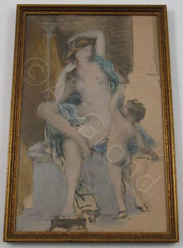 François LAFON - Pintura - Draped nude women with naked child seated between pillars