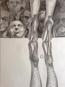 Patrick BRETAGNE - Dibujo Acuarela - L'admirateur