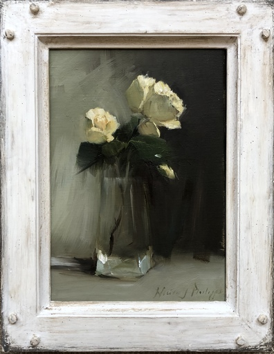 Nicky PHILIPPS - Pittura - Yellow rose in a glass vase
