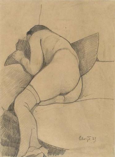 Llewelyn LLOYD - Drawing-Watercolor - LYING FEMALE NUDE