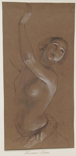 """Theodor PETTER - Drawing-Watercolor - """"Study of a Woman"""" by Theodor Petter, 1840/50"""