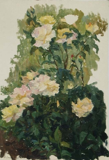 """Vladimir M. SINITSKI - Peinture - """"Roses"""", Oil Painting by Vladimir Sinitski, ca 1950"""