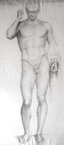 Paul DUBOIS - Dibujo Acuarela - Naked academic man in the antique  Circa 1850-55