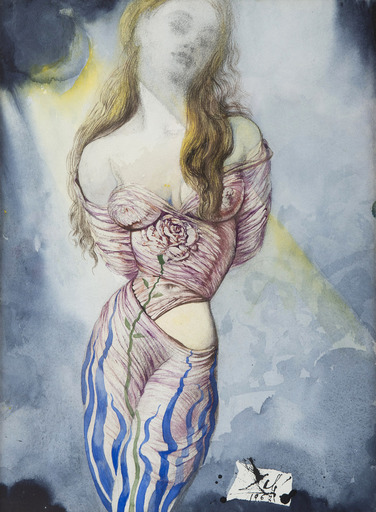 Salvador DALI - Drawing-Watercolor - Femme à la rose