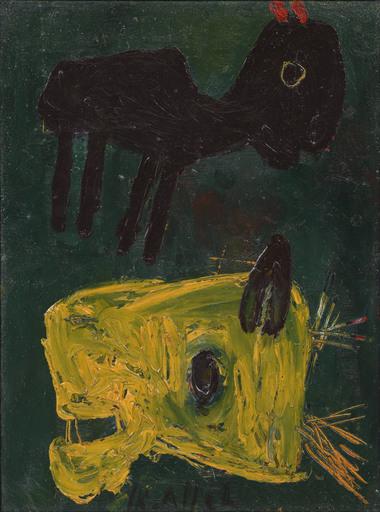 Karel APPEL - Peinture - Dieren op blauwgroen fond /Animals on a blue-green backround