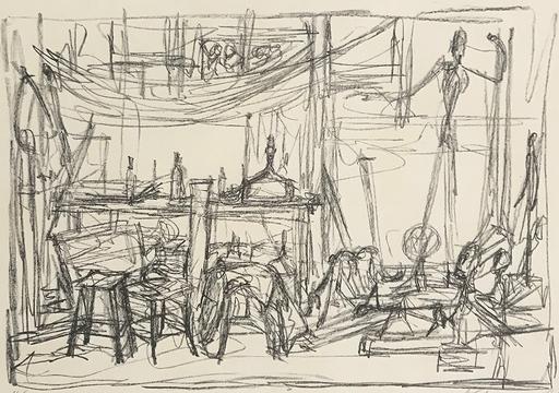 阿尔贝托•贾科梅蒂 - 版画 - The Pointing Man, in the Studio