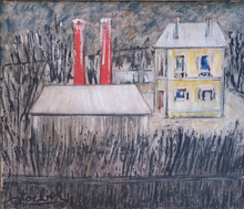 Edgar STOEBEL - Painting - Landscape with Yellow House