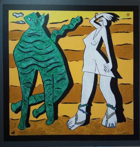 Harry BARTLETT FENNEY - Painting - le grande chat vert