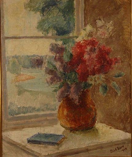 Dick BEER - Painting - bouquet devant la fenetre