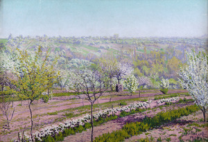 Gustave CARIOT - Peinture - Verger fleuri