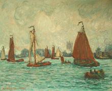 André WILDER - Pintura - le grand port de Rotterdam