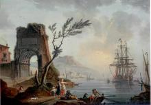 Charles François LACROIX DE MARSEILLE - Painting - Port du Sud avec arche de Titus