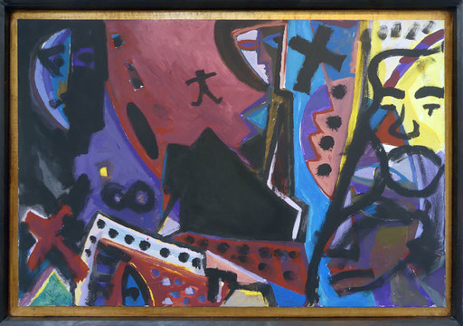 A. R.  PENCK & Gottfried  BRÄUNLING - Painting - Üb mal got