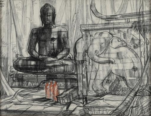 André MAIRE - Dessin-Aquarelle - Bouddha monumental et éléphant dans un temple