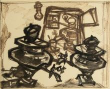 Oskar RABIN - Drawing-Watercolor - Still Life with Samovars