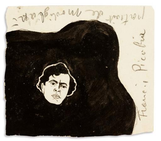 Francis PICABIA - Drawing-Watercolor - Portrait de Modigliani