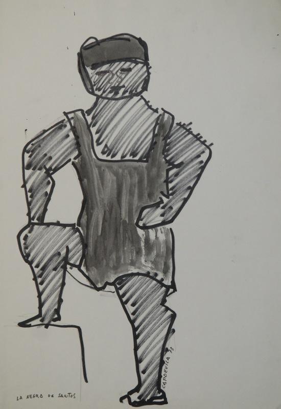 """Manuel CAPDEVILA MASSANA - Drawing-Watercolor - """" la negra de santos"""""""