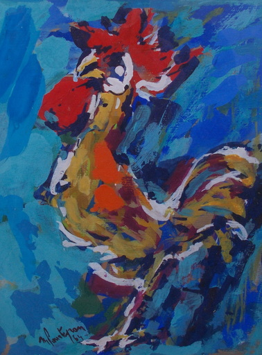 Michel POURTEYRON - Pintura - Le coq