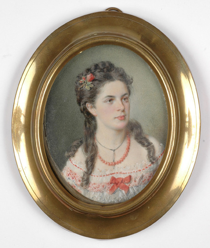 """Franz PITNER - Miniatur - """"Portrait of Marianne von Bene"""" ca. 1870"""