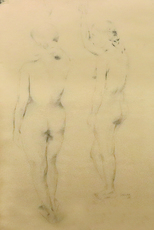 Akbar PADAMSEE - Drawing-Watercolor - Two Nudes