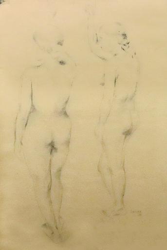Akbar PADAMSEE - Dibujo Acuarela - Two Nudes